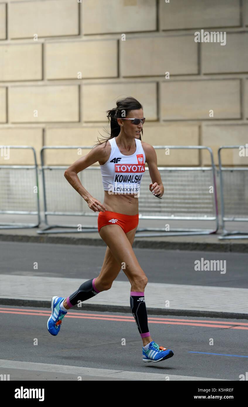 Katarzyna Kowalska, Polen, 2017 IAAF wm Frauen Marathon, London, Vereinigtes Königreich Stockbild