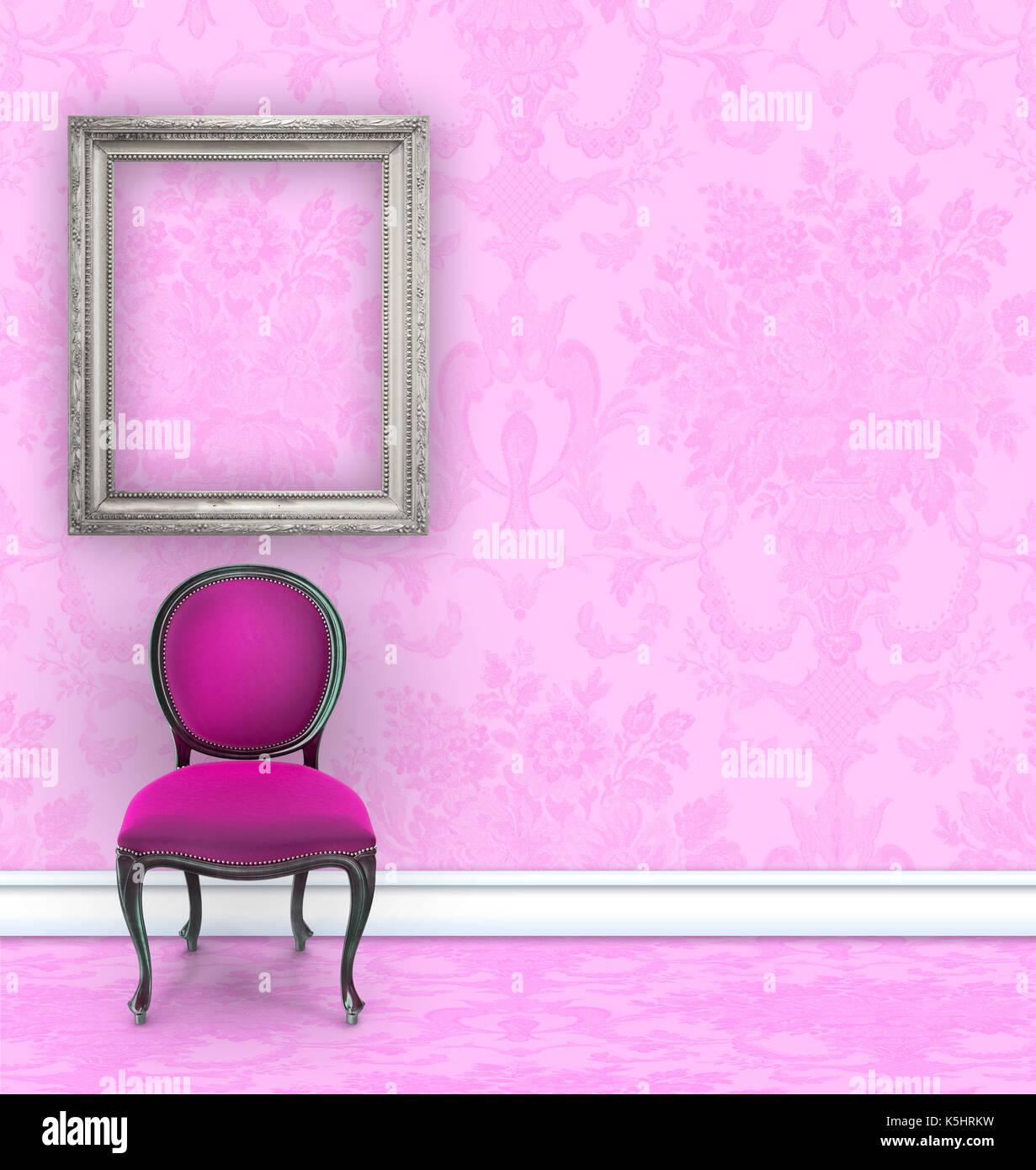 Rosa Zimmer mit Damast-seidentapeten, eine samt Stuhl, und eine ...