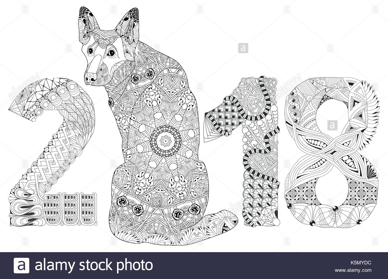 Hund-Zentangle Stil mit klaren Linien für Malbuch für anti-Stress, T ...