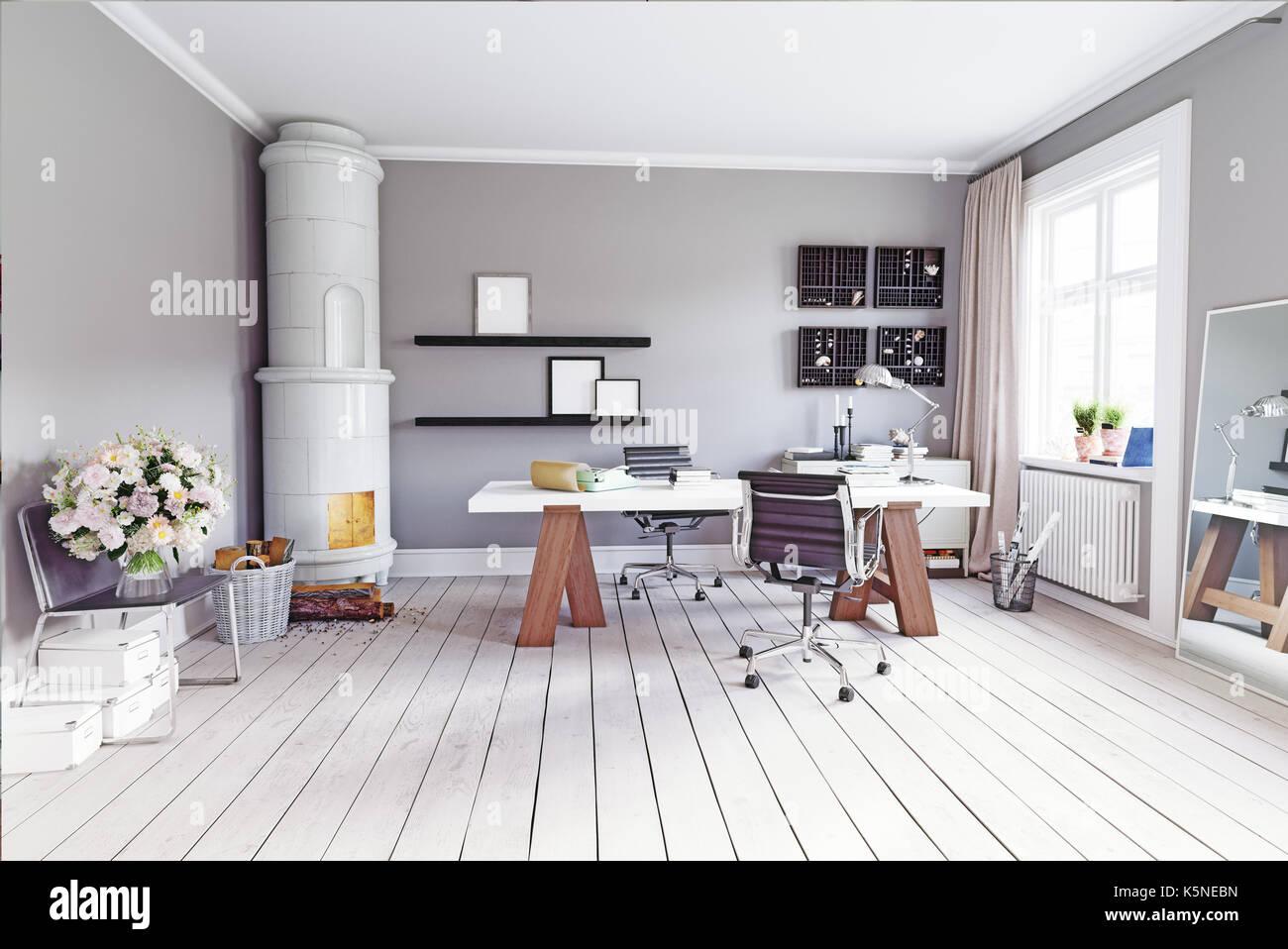Moderne Zimmer mit klassischen schwedischen Herd, Tisch und Sesseln. 3D Rendering Stockbild
