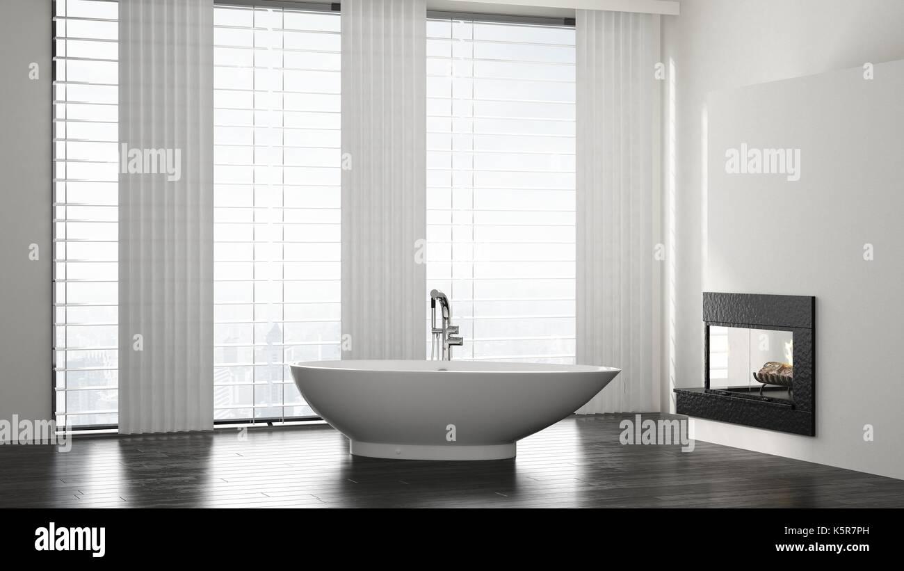 Geräumiges, modernes Bad, minimalistischen Interieur mit Boot ...