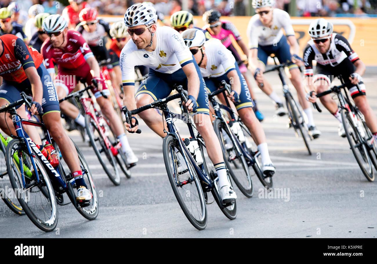 Madrid, Spanien. 10. September, 2017. Radfahrer von Aqua Blue Sport Fahrten während der Stufe 21 der Tour durch Stockbild