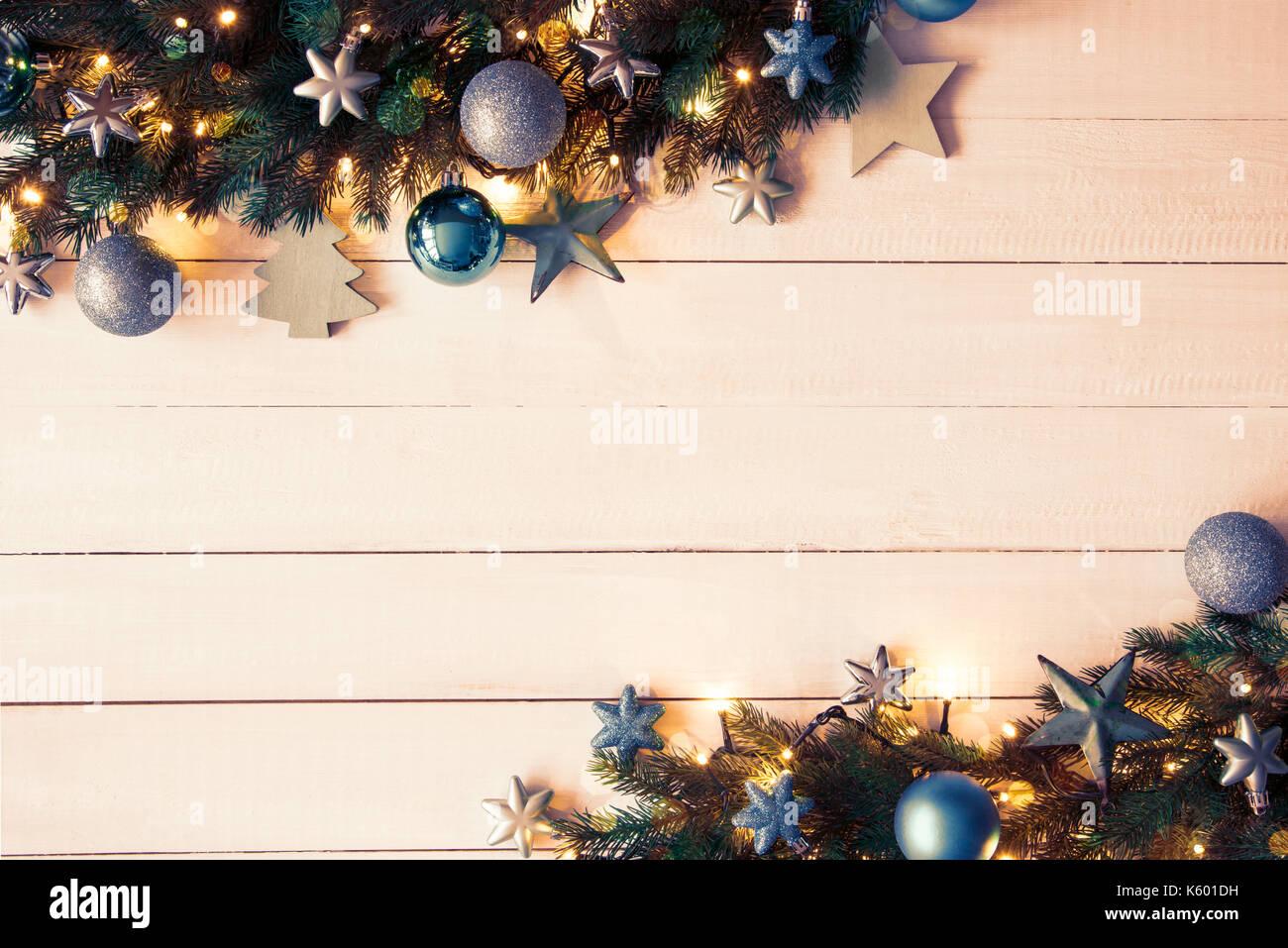 Türkis Weihnachten Banner, Rahmen, Tannenzweigen, Instagram Filter ...