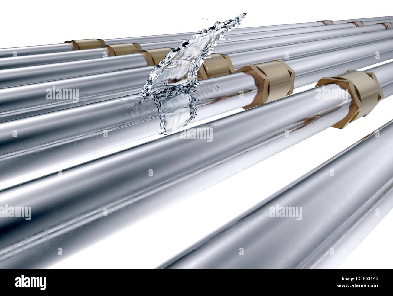 Defektes Rohr Ist Undicht Wasser Auf Weissem Isoliert 3d