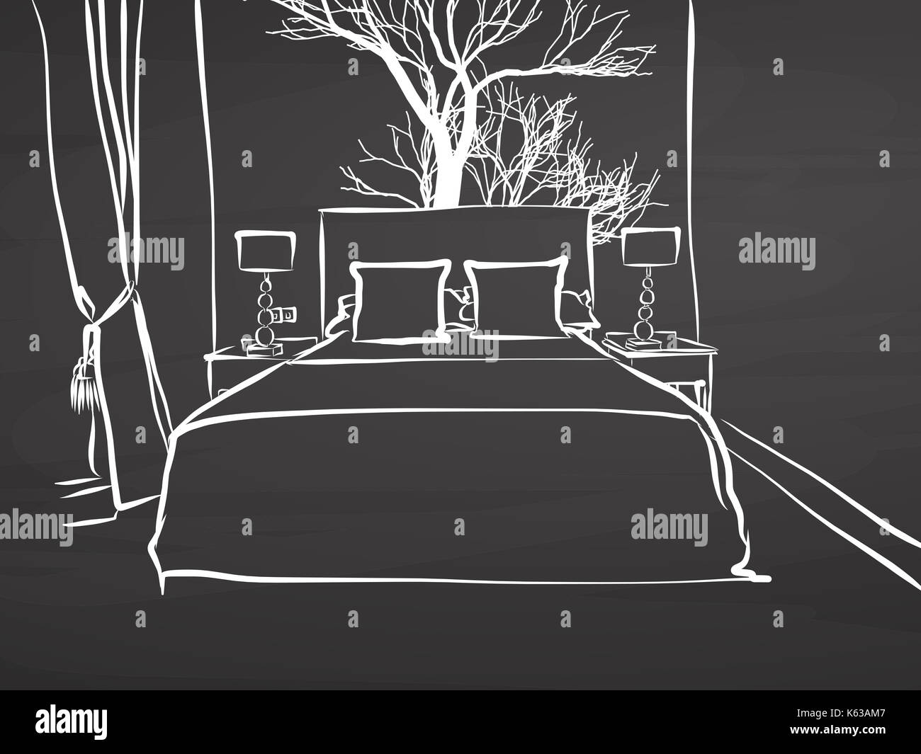 Skizziert Hotel Zimmer Am Schwarzen Brett Handdrawn Vektor Skizze