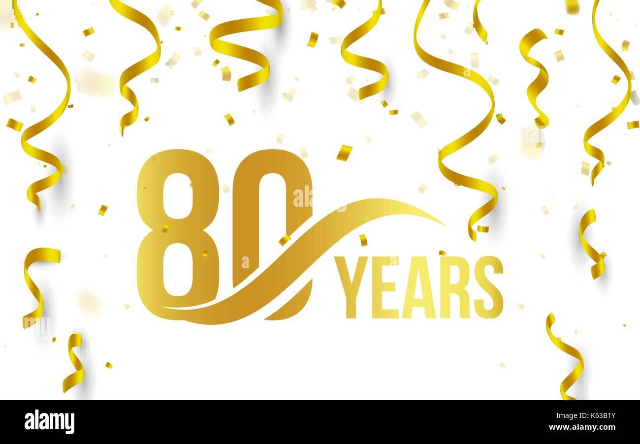 Goldene Farbe Nummer 80 Mit Word Jahre Symbol Auf Weissem