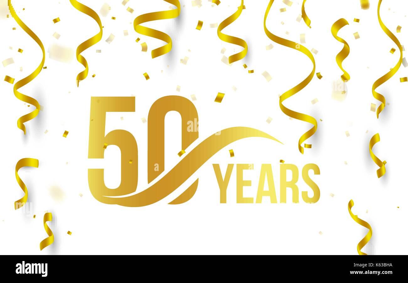 Isolierte Goldene Farbe Nummer 50 Mit Word Jahre Symbol Auf Weissem