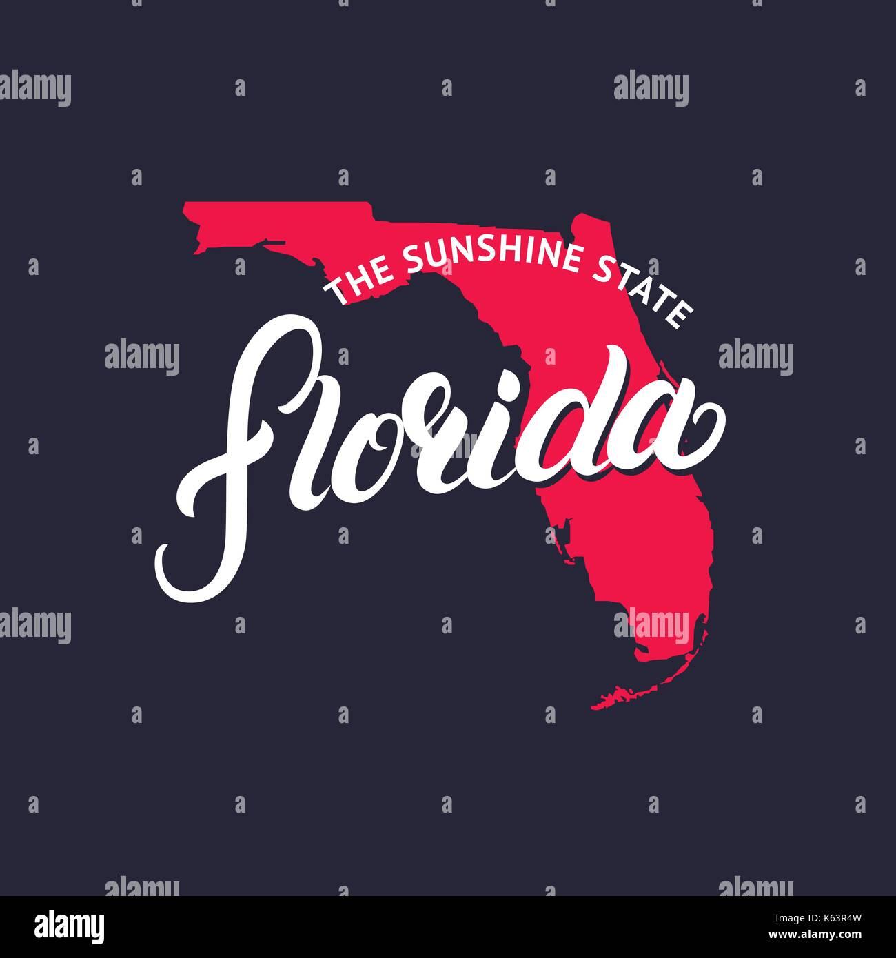 Florida Karte Drucken.Florida State Handgeschriebene Schrift Wort Und Karte Für T Stück