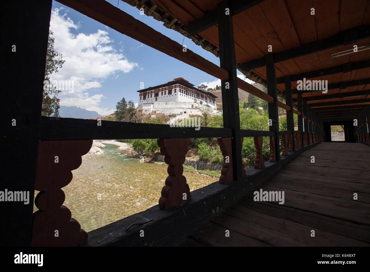 Holz Balkon der buddhistischen Tempel, Tiger's Nest, Bhutan Stockfoto