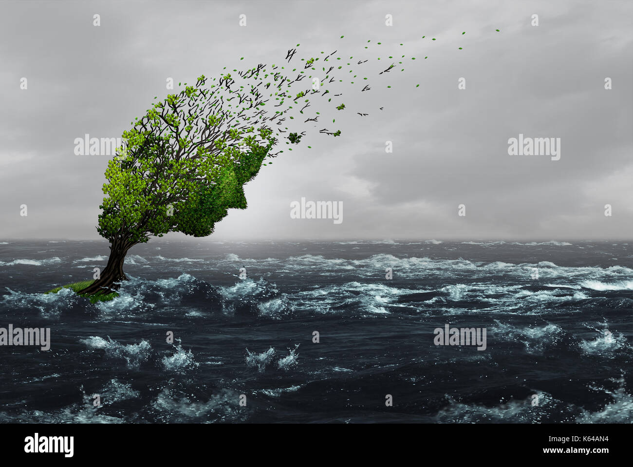 Überleben ein Sturm Konzept als ein zerschlagener betonte Baum durchgebrannt durch heftige Winde in Hochwasser als Angst oder Missbrauch Metapher zu widerstehen. Stockbild