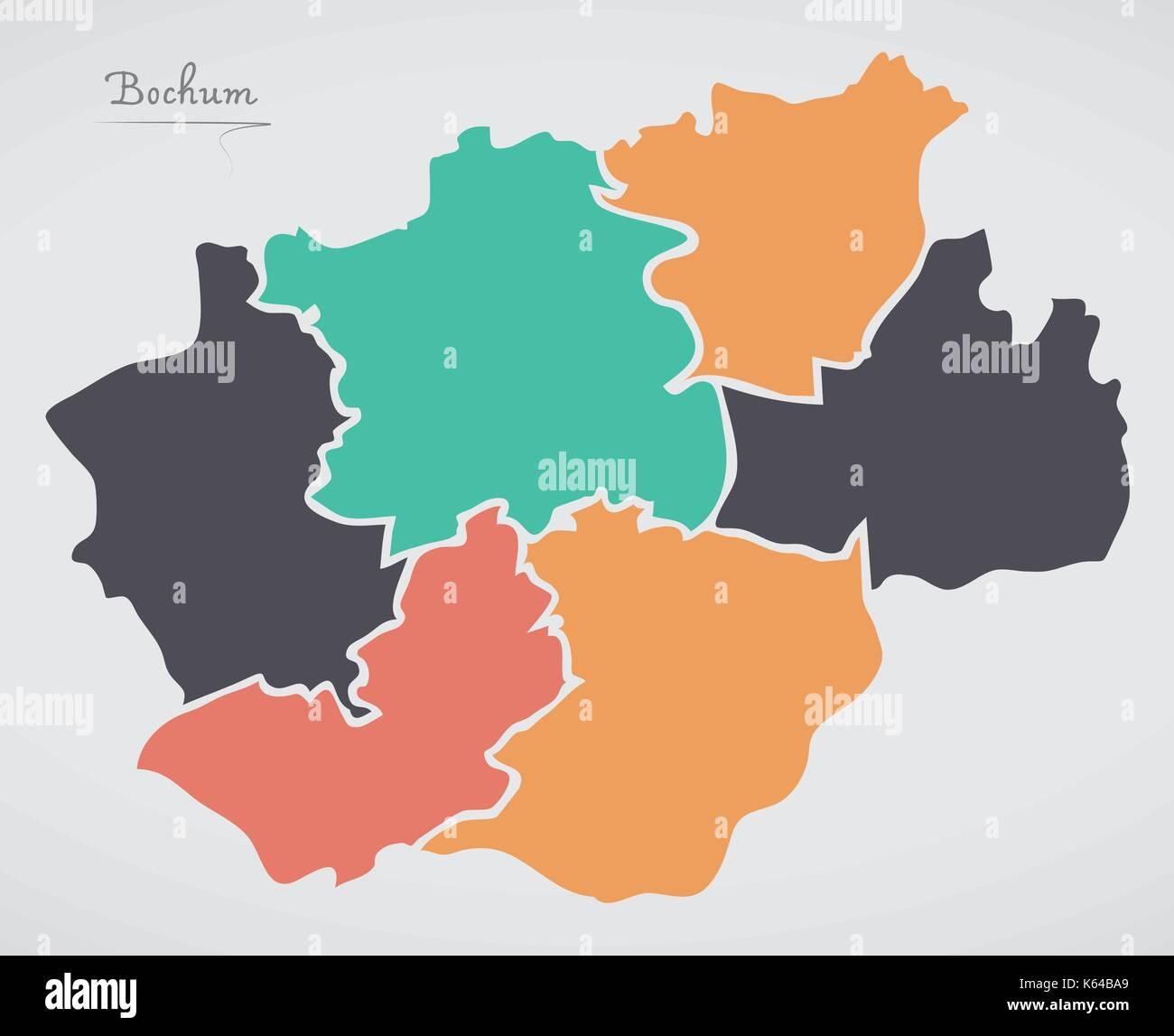 Bochum Karte.Bochum Karte Mit Bezirken Und Moderne Runde Formen Vektor Abbildung