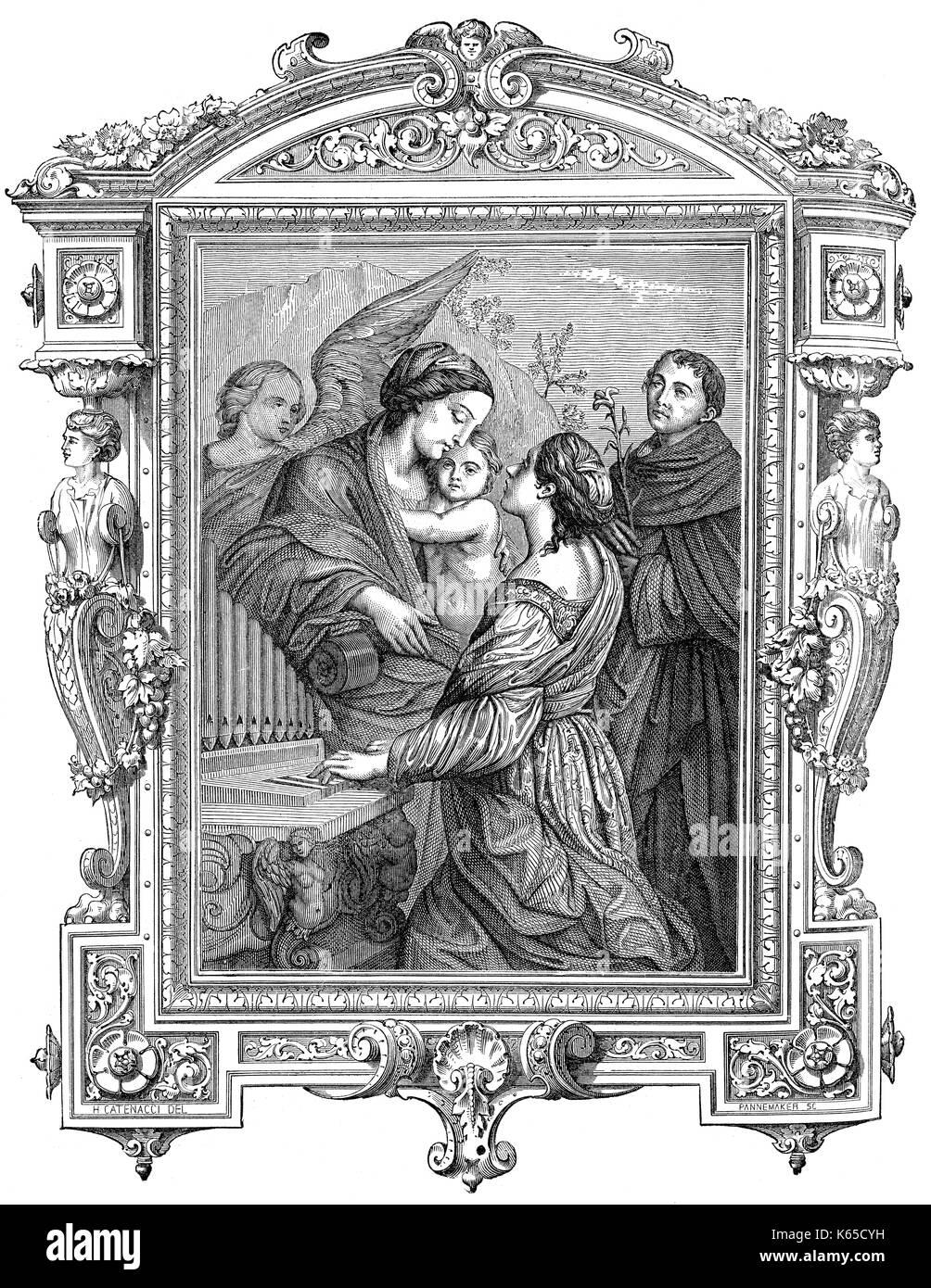 Die Saint Cecilia, der Schutzpatronin der Musiker, die Orgel Stockbild