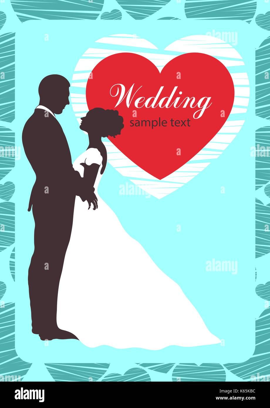 Braut und Bräutigam Silhouette, Einladung Hochzeit, Karte ...
