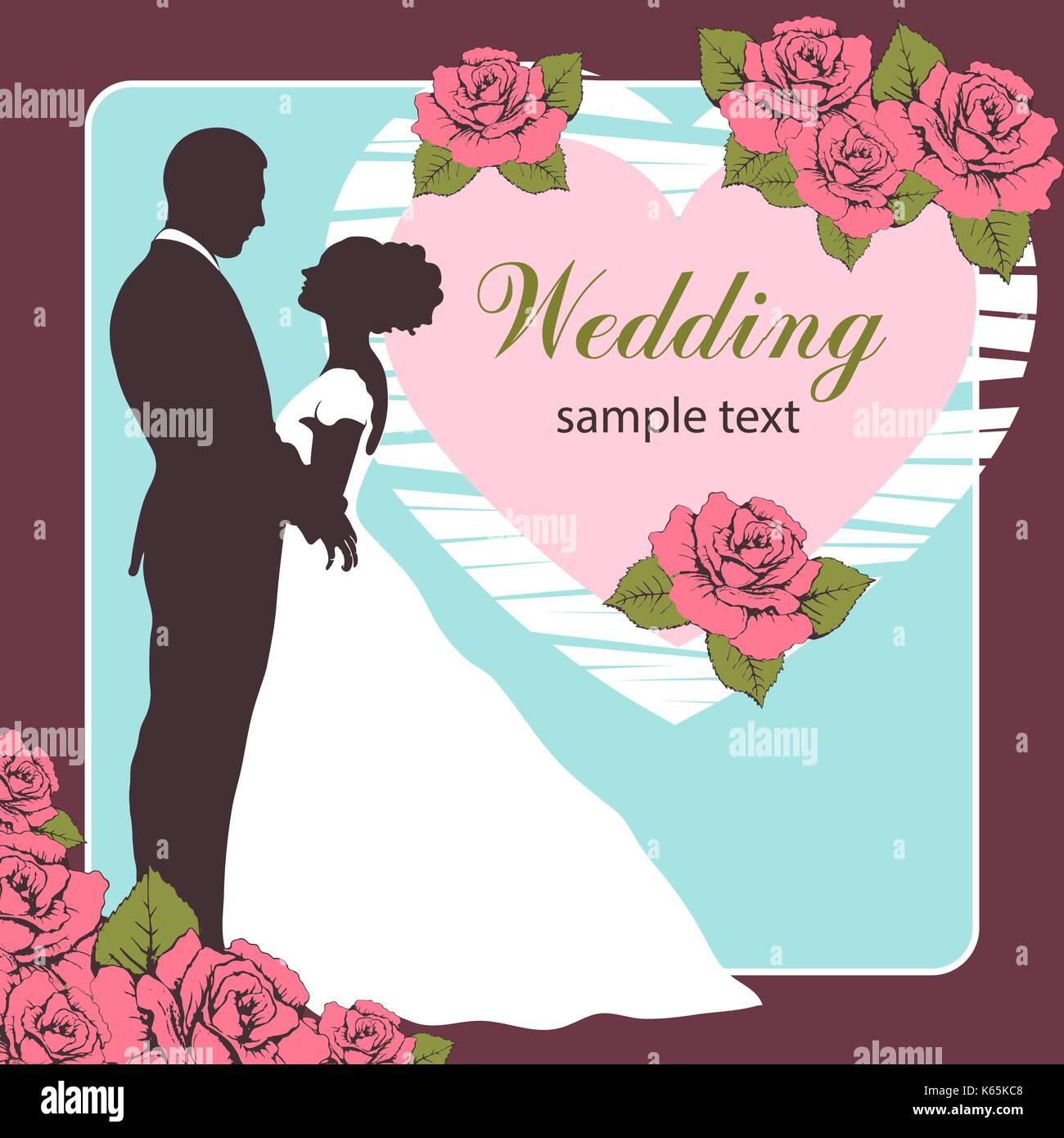 Braut und Bräutigam Silhouette, Einladung Hochzeit, Karte, Skizze ...