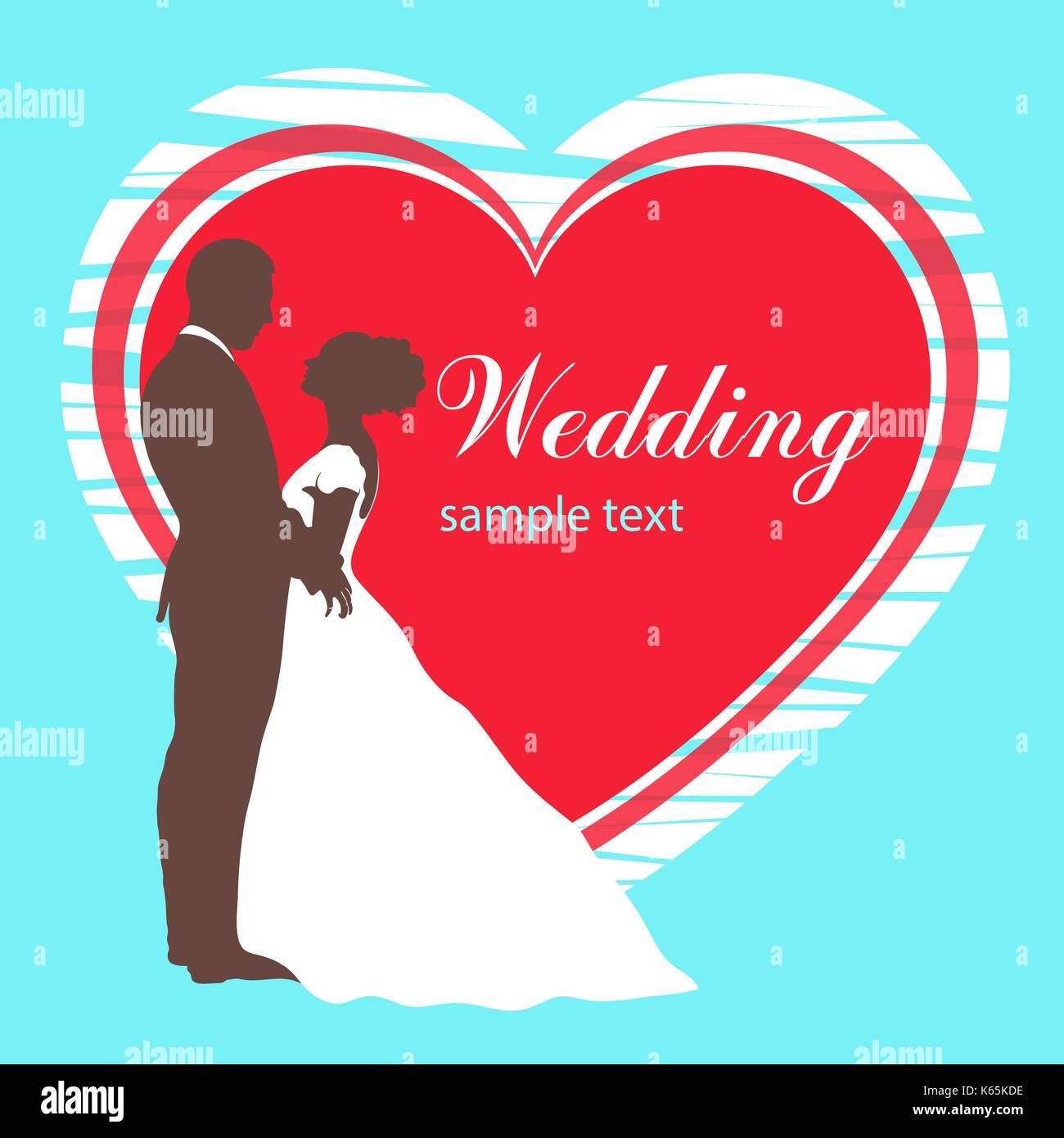 Braut und Bräutigam Silhouette, Einladung Hochzeit, Karte, Vektor ...
