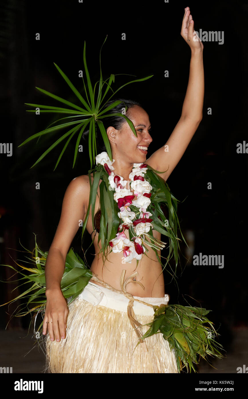 Tänzer, traditioneller Tanz, Insel, Bora Bora, Gesellschaftsinseln, Französisch Polynesien Stockbild
