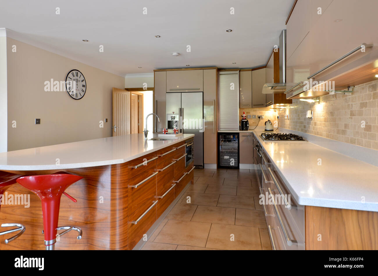 Ausgestattete Küche Luxus Neubau Home Stockbild