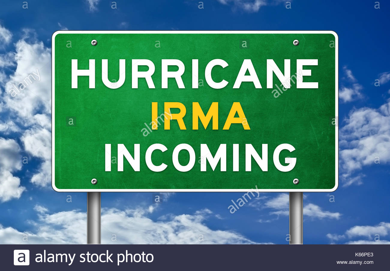 Hurricane Irma eingehende-Schild Stockbild