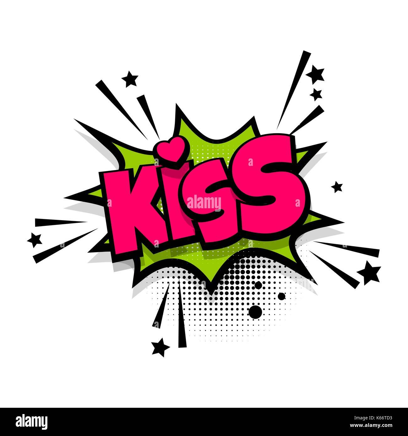 Kuss, Liebe, Herz, romantisch-Schriftzug. Comics buch Ballon ...