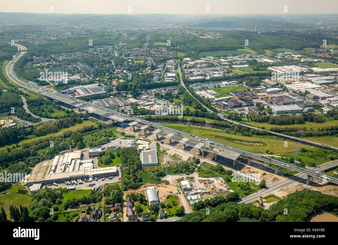 Abriss und Wiederaufbau des Lenntalbrücke, Sauerlandlinie, Autobahn A45, Verkehrsinfrastruktur, Bau, Hagen, Ruhrgebiet, Norden Rhin Stockbild