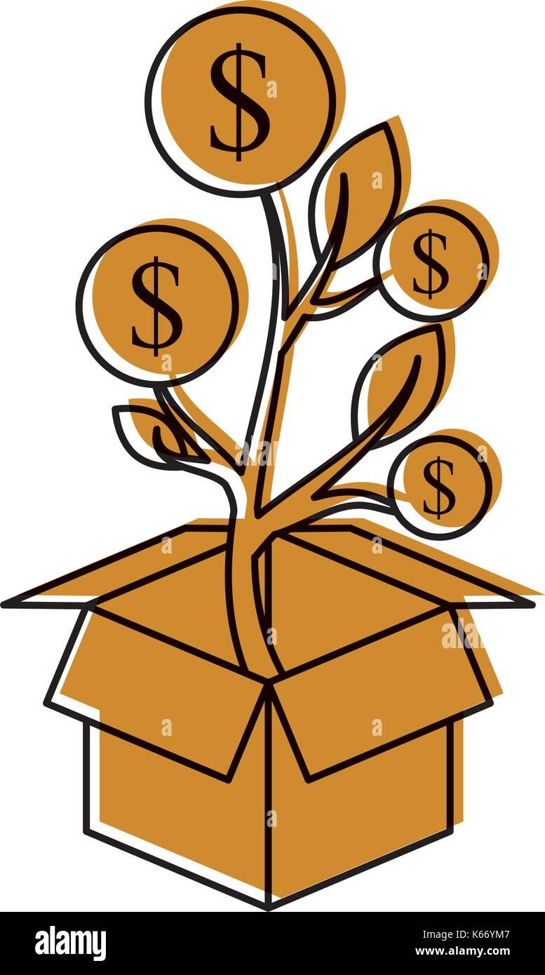 Pflanzen Von Münzen In Einer Box Business Geld Verdienen Vektor