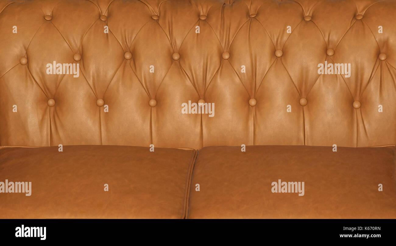 Detail Der Beigefarbenen Weichen Leder Material Sofa Polster