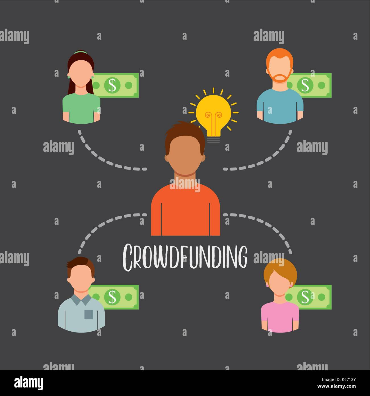 Crowdfunding Menschen sponsor Kapital Geld Stockbild