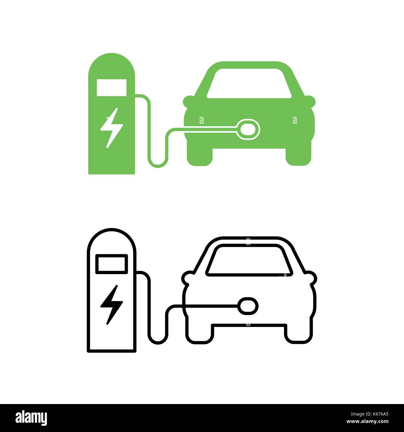 Elektroauto und elektrische Ladestation Symbol. Hybrid Fahrzeug ...