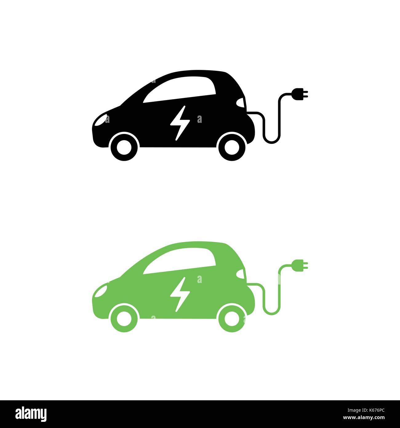 Elektroauto mit elektrischen Ladekabel Symbol. Hybrid Fahrzeug ...