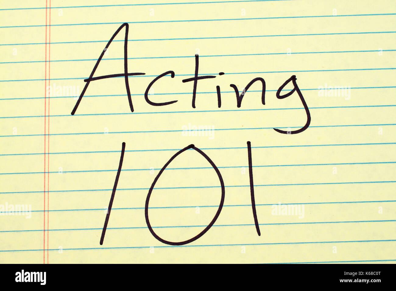 """Die Worte """"101"""" auf einer gelben Legal Pad Stockbild"""