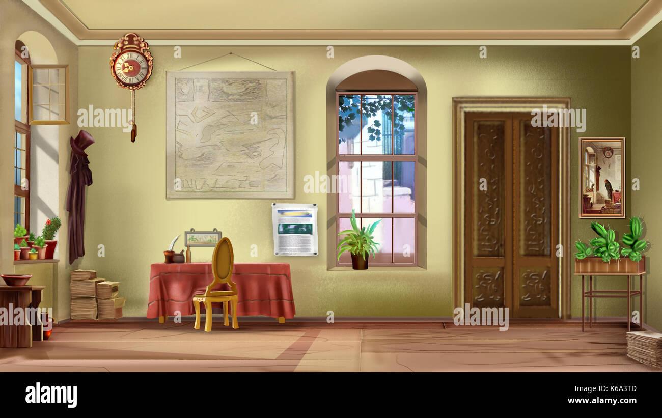 Einrichtung Eines Leeren Vintage Zimmer An Einem Sonnigen Tag. Digitale  Malerei, Grafik Im Comic Stil Charakter.