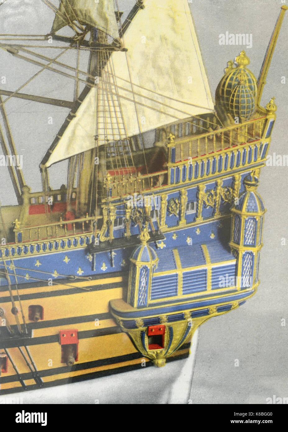 La Couronne (1636) Erste französische Kriegsschiff gebaut in La Roche-Bernard Frankreich Stockbild