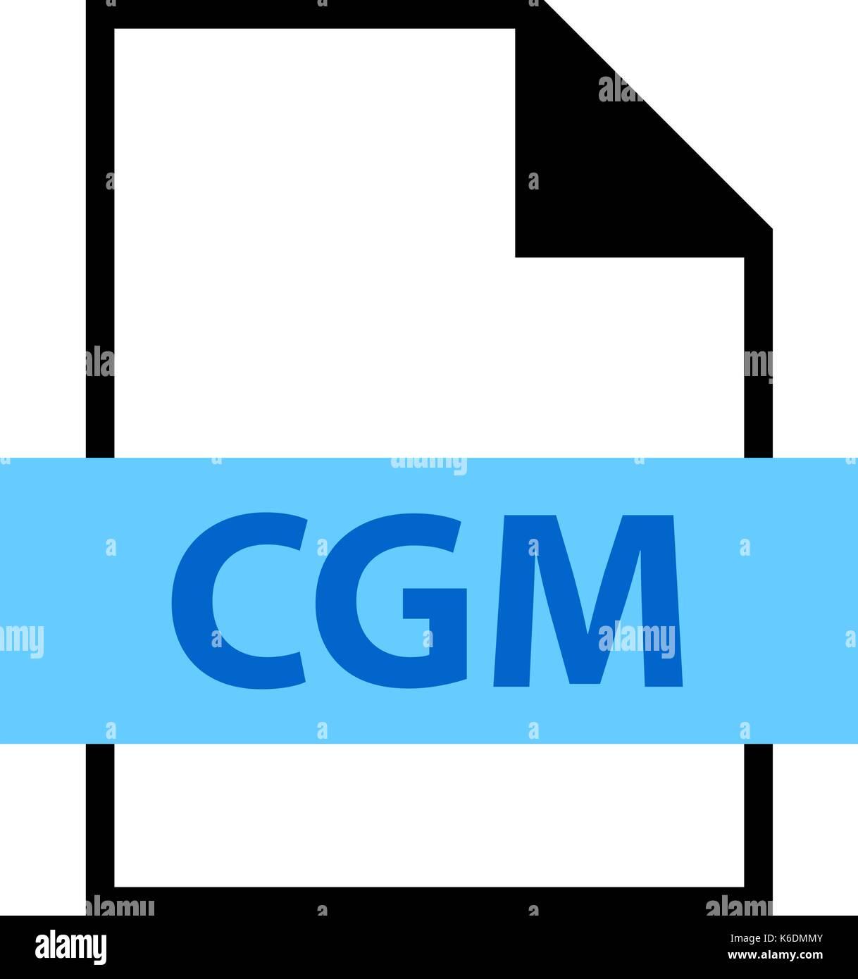 Es in allen ihren Designs verwenden. Dateinamenerweiterung Symbol CGM Computer Graphics Metafile im flachen Stil. Schnelle und einfache recolorable Form. Stockbild