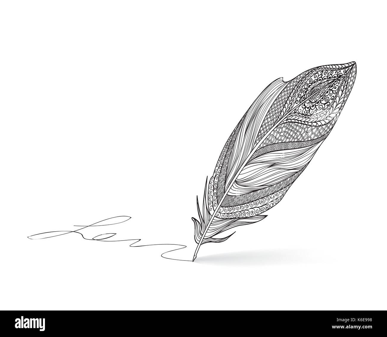 Feather pen Schreiben Kalligraphie. Literatur retro unterzeichnen. Stockbild