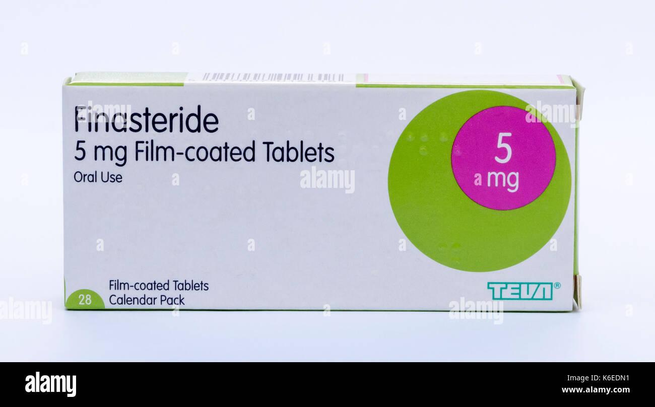 Finasterid wird verwendet, vergrößerte Prostata zu behandeln. Es verhindert die Umwandlung von Testosteron zu Dihydrotestosteron (DHT) Stockbild