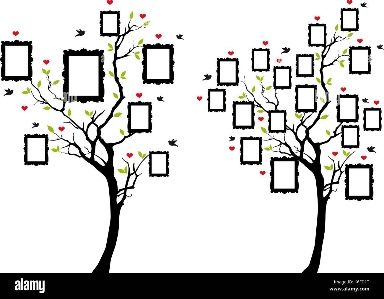 Stammbaum mit leeren Bilderrahmen, Vektor, Abbildung Vektor ...