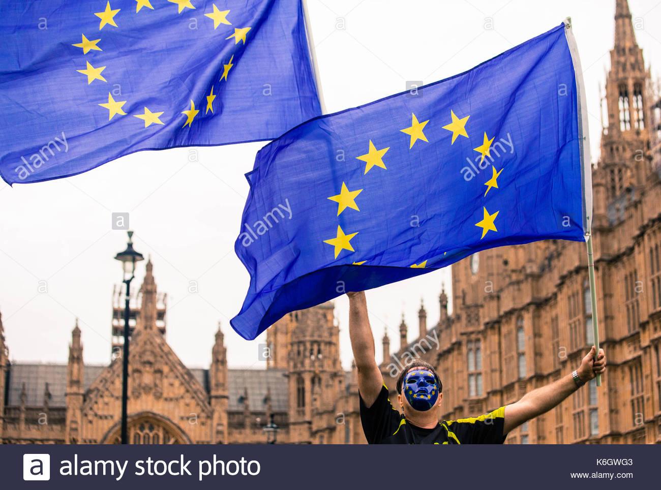Ein pro-EU-anti-Brexit Demonstrant Wellen EU-Flaggen in der Luft an der Westminster während eines Protestes gegen die erste Lesung von der Rücknahme Rechnung. Stockbild