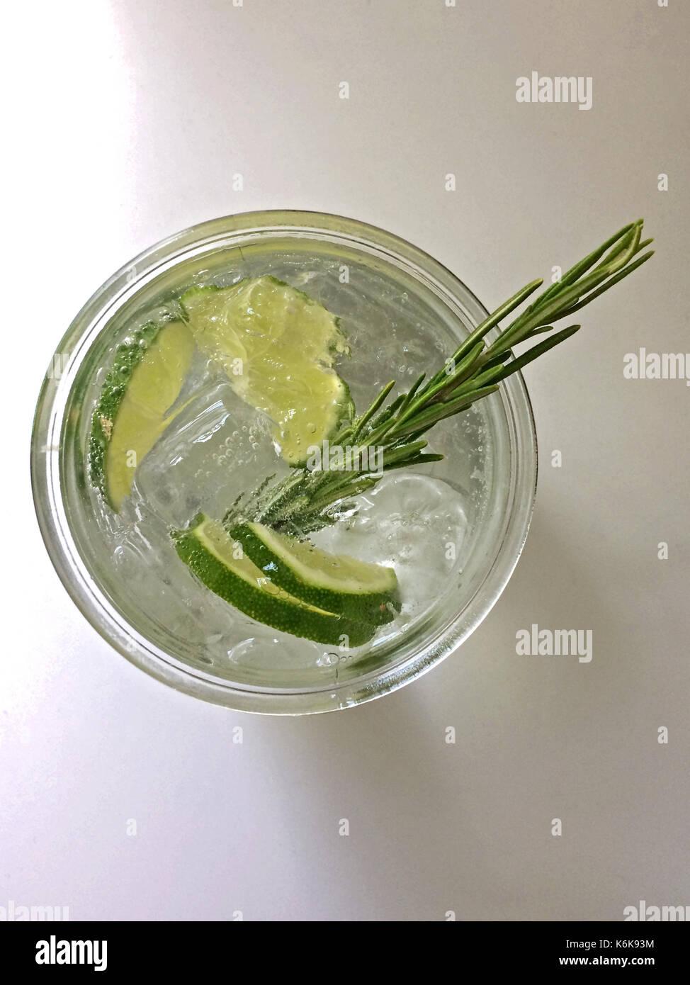 Classic Gin und Tonic Cocktail mit Limette, Zitrone und Rosmarin Stockbild