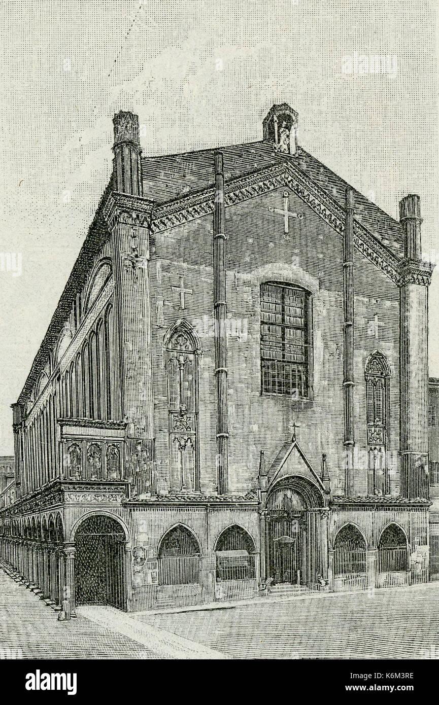 Bologna Chiesa di San Giacomo Maggiore xilografia Stockfoto, Bild ...