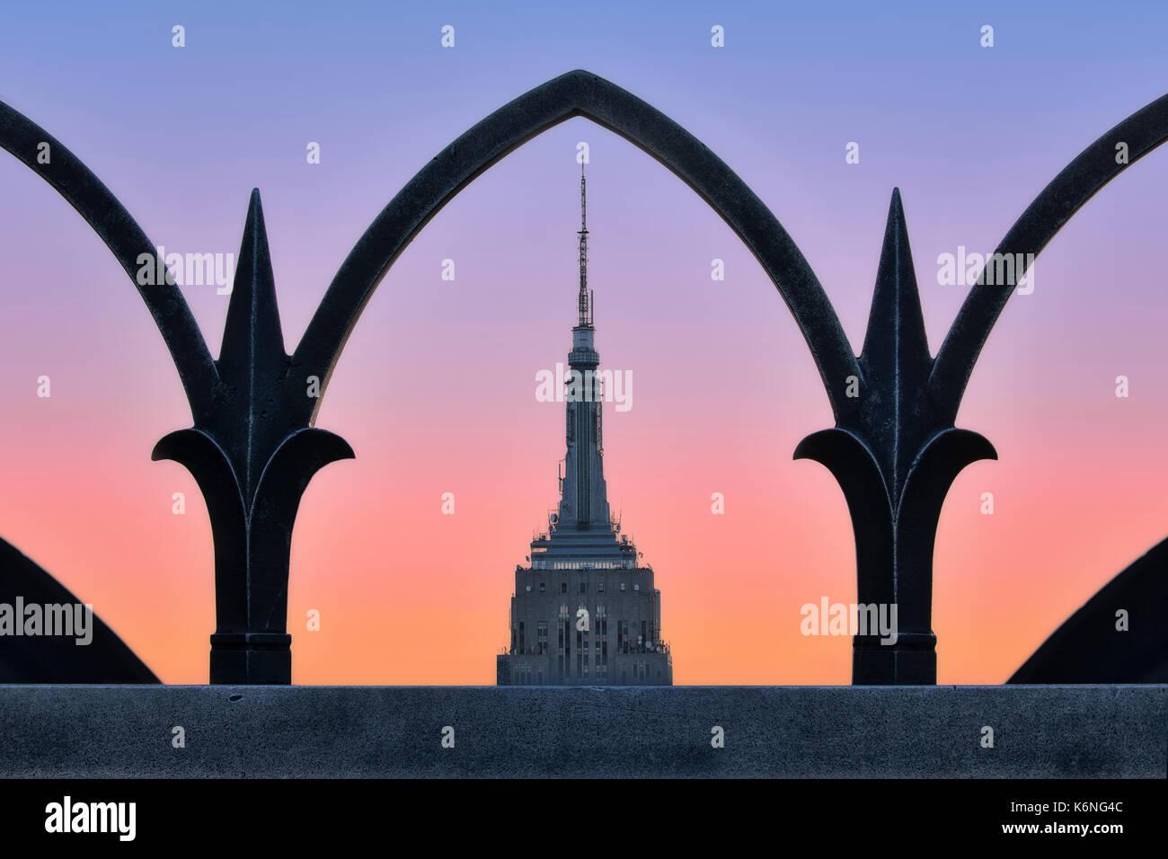 Gerahmte Empire State Building ESB NYC-Art-déco-Stil ...
