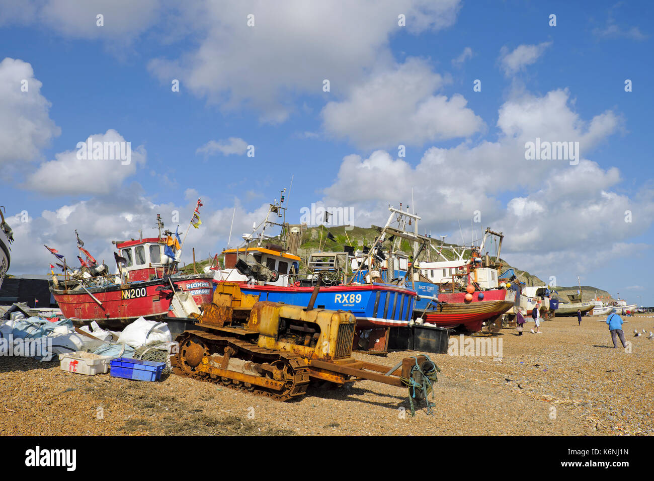 Stade Fischerboot am Strand von Hastings, East Sussex, UK, GB Stockbild