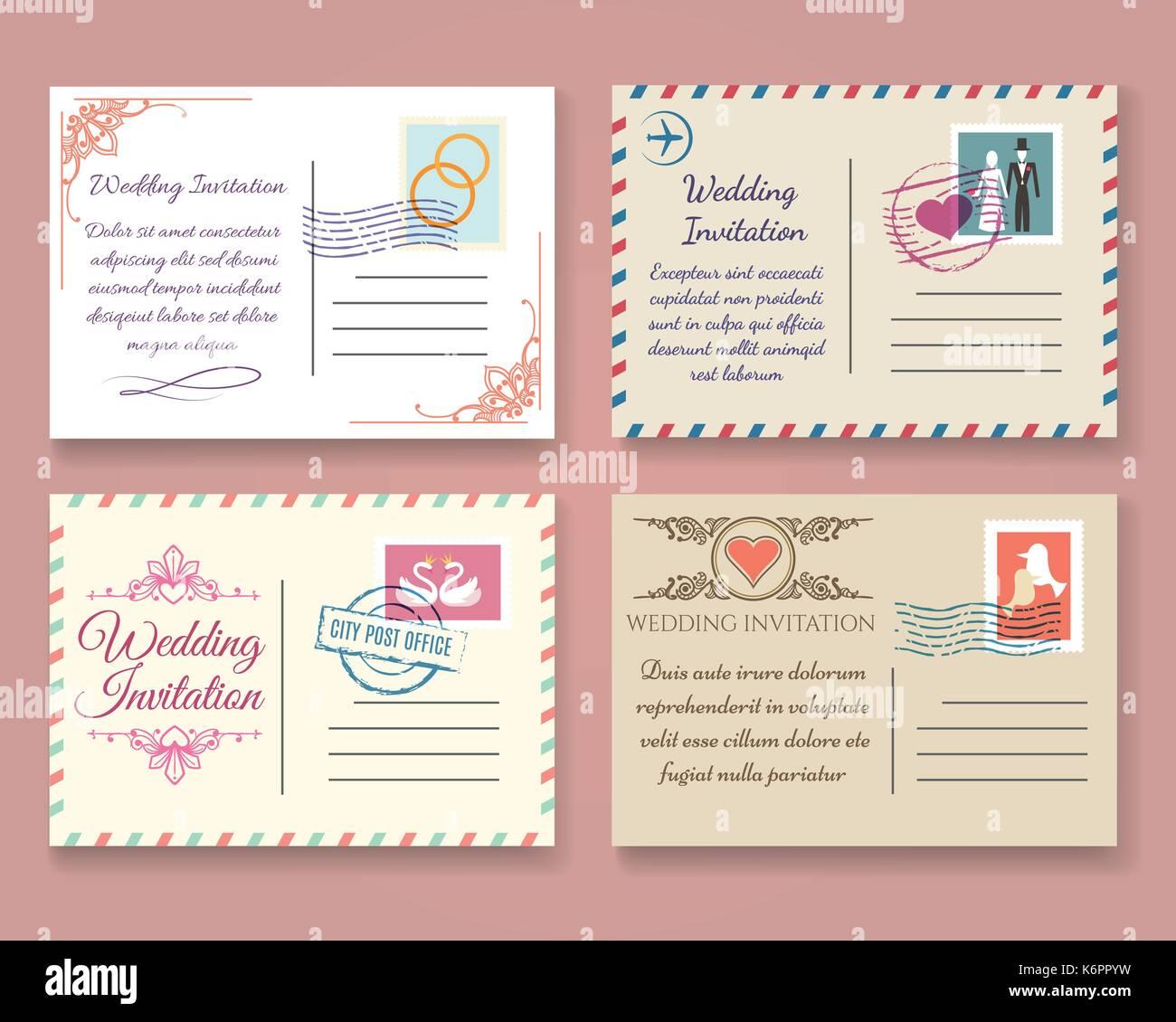 Vintage Hochzeit Postkarte Vektor Vorlagen Alte Vector Ehe