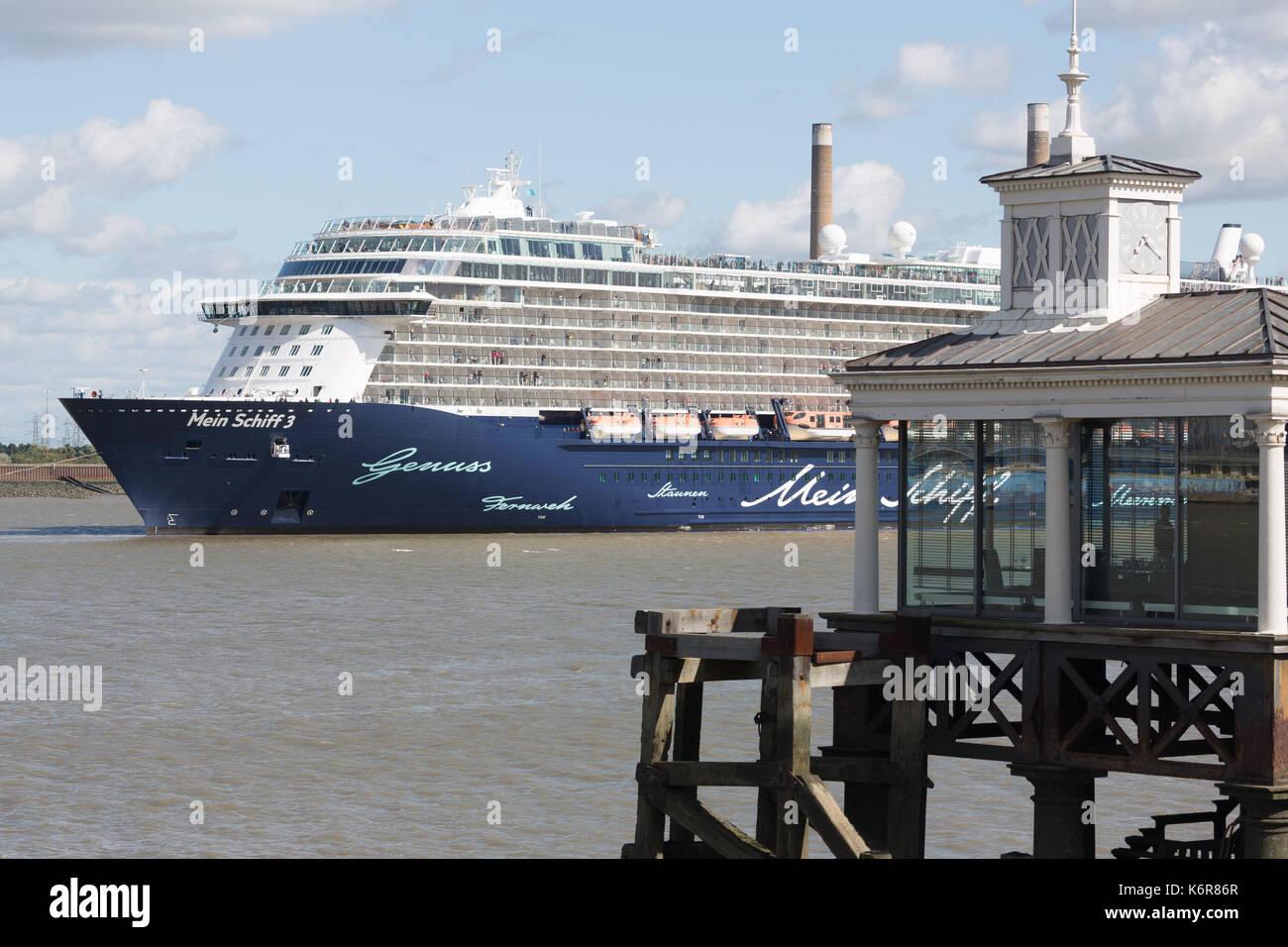 Gravesend, Kent, Großbritannien. 13 Sep, 2017. Die größte Kreuzfahrtschiff zu je London International Cruise Terminal Stockfoto