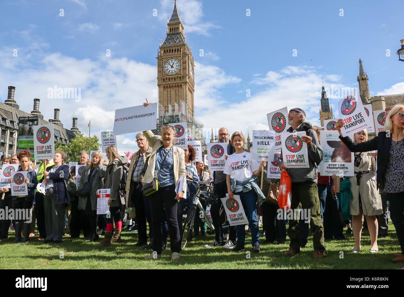 London, Großbritannien. 13 Sep, 2017. Die Tierschützer in Parliament Square als Teil von Mitgefühl für die Welt Stockfoto