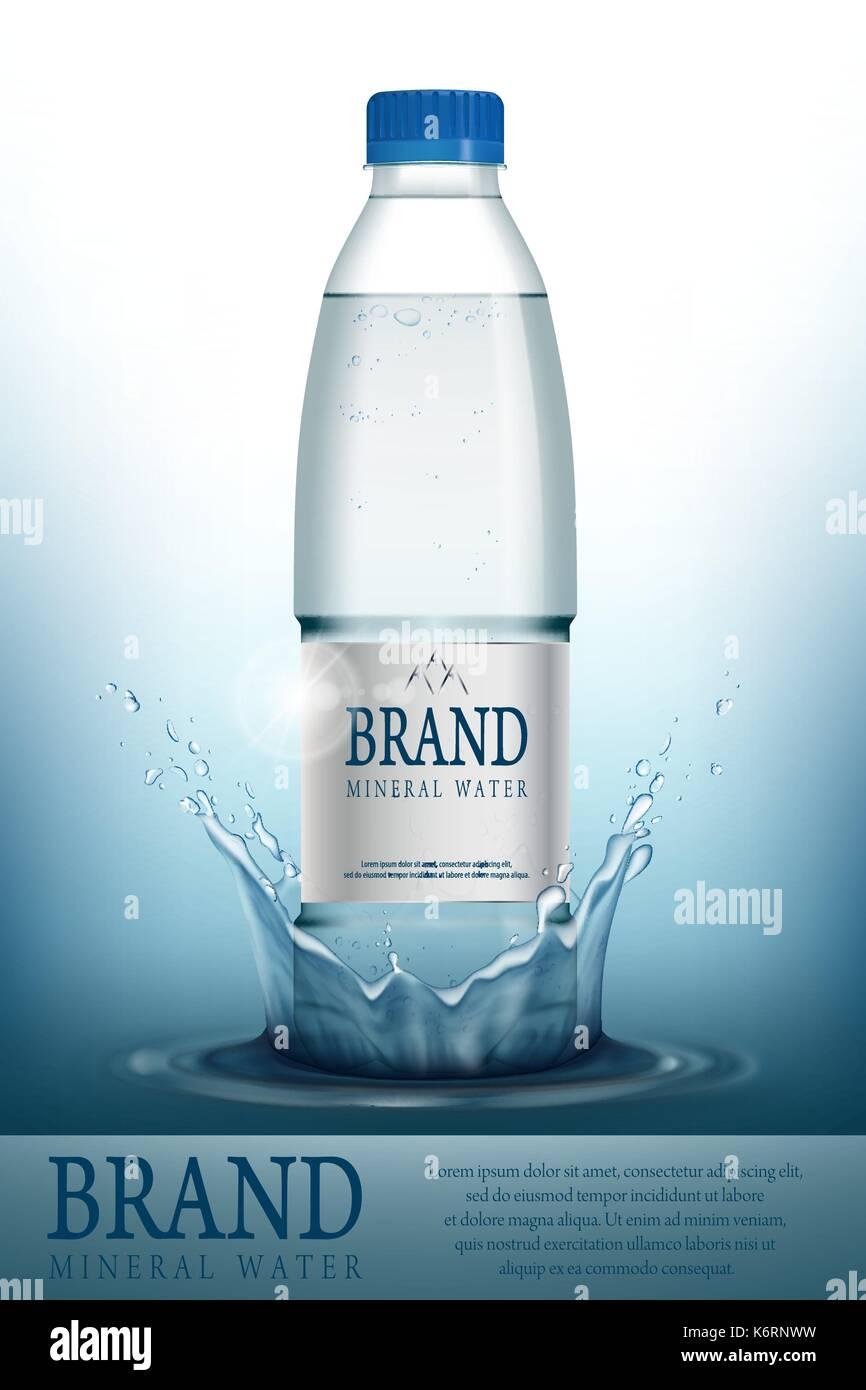 Mineralwasser realistische Flasche container mockup Vorlage ...