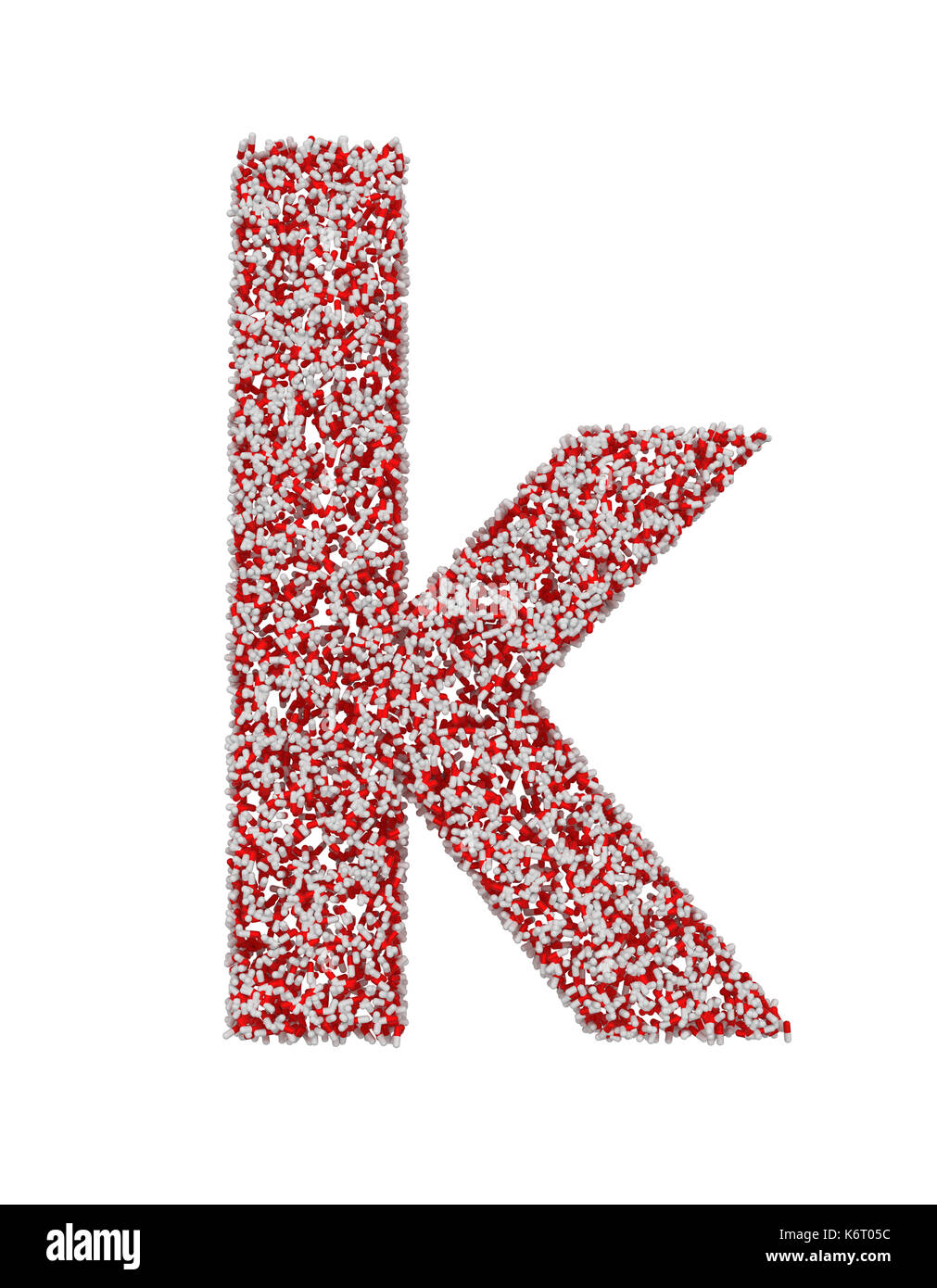 3D-Render von roten und weißen Alphabet von Pillen. kleine Buchstaben d mit Freistellungspfaden. Auf weissem Hintergrund Stockfoto