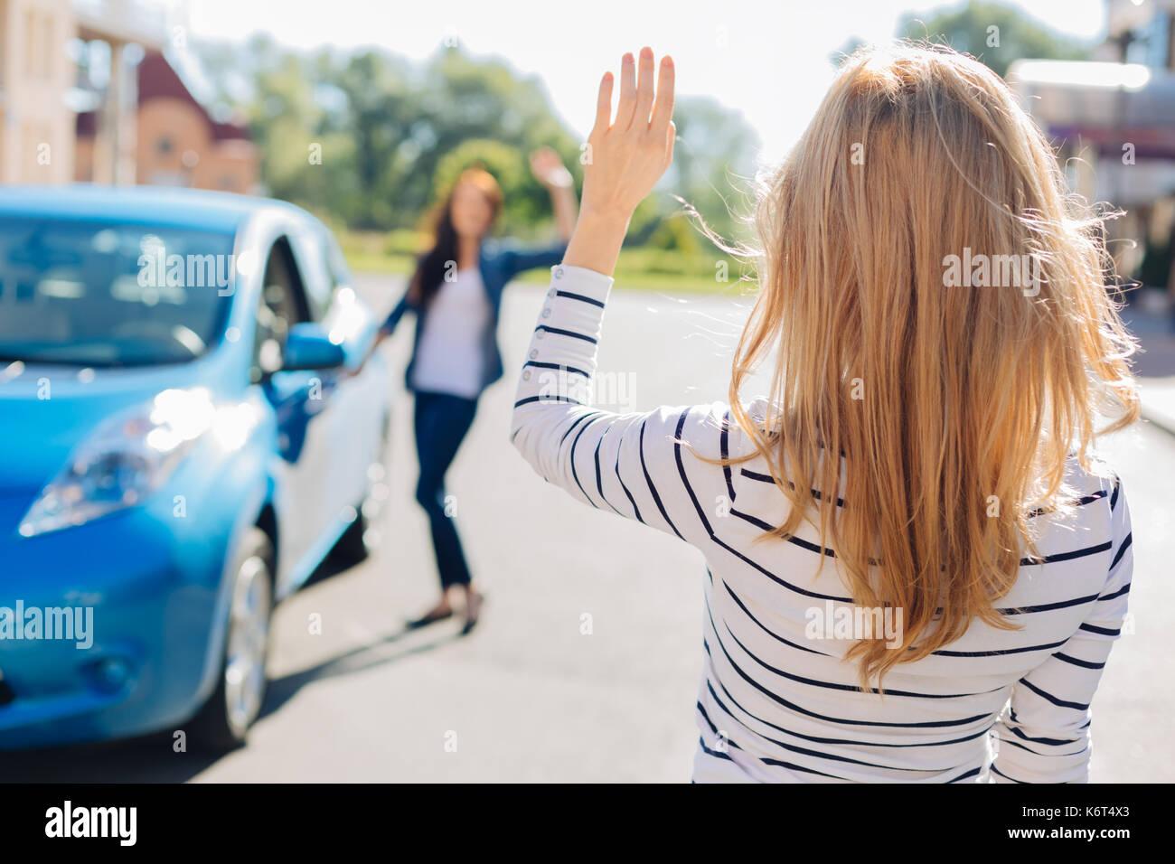 Schöne junge Frau winkte mit der Hand Stockbild