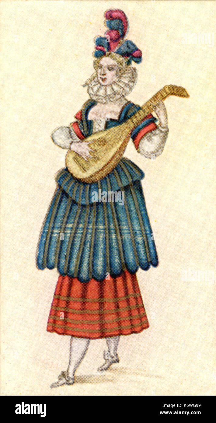 17. Jahrhundert französische Zeichnung weiblicher Musiker in masque Kostüm und spielte die Laute. Stockbild