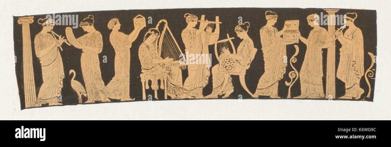 Griechische Vase Malerei zeigt die 9 Musen, viele spielen Instrumente, Inc. aulos, trigonon, Citara, Lyra. Musen: Stockfoto