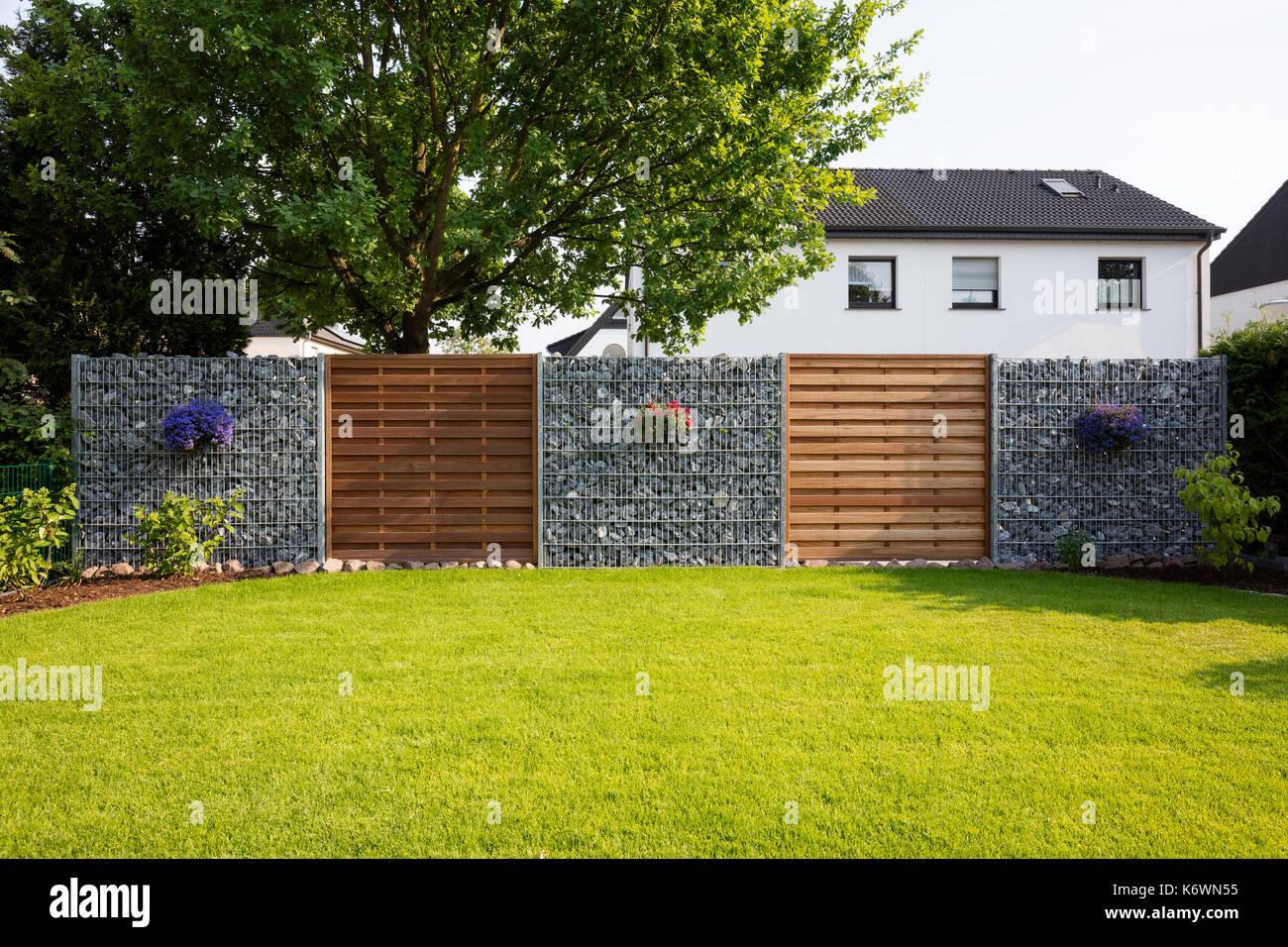 Rasen, Privatsphäre Zaun, Haus Garten, Nordrhein-Westfalen ...